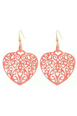 CORAL RED FILIGREE HEARTS