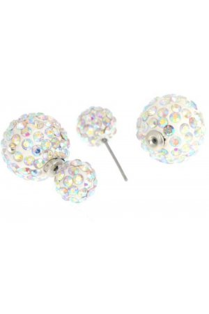 Double dots oorbellen - wit strass