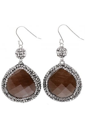 Edelstenen oorbel Bright Brown Cat's Eye