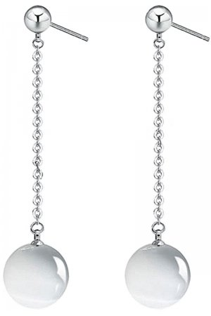 Edelstenen oorbel Silver Dangling White Cat's Eye