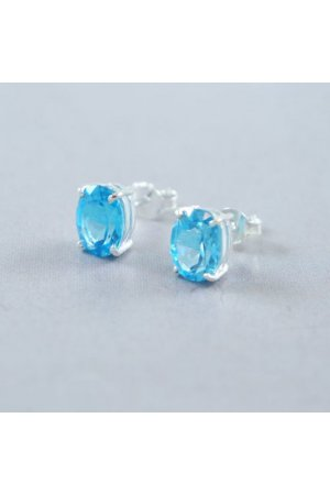 House of Jewels - Blauw Topaas oorknoppen - Ovaal