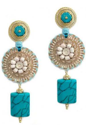 N˚17S399 - VERGULDEN STATEMENT OORBELLEN MET ORNAMENT - TURQUOISE - ZATTHU JEWELRY
