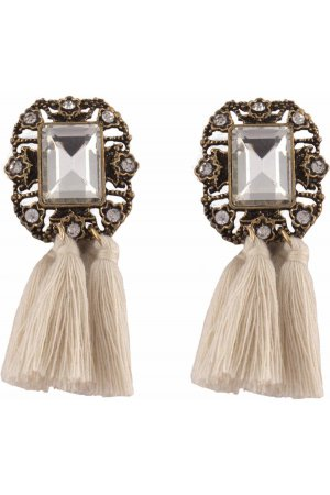 Statement tassel earrings off white