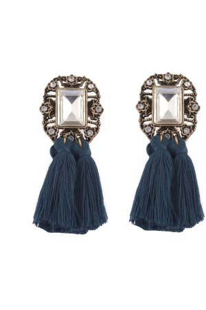 Statement tassel earrings petrol blue
