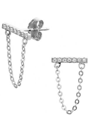 The Fashion Jewelry Collection Oorhangers Zirkonia - Zilver Gerhodineerd