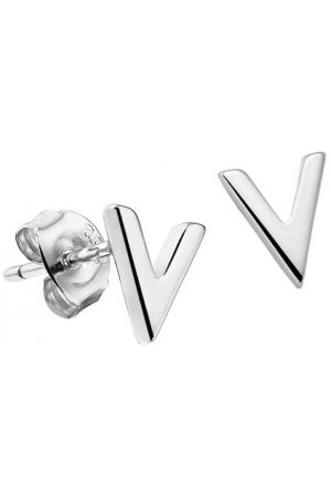 The Fashion Jewelry Collection Oorknoppen V - Zilver Gerhodineerd