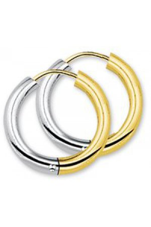The Jewelry Collection Klapcreolen 3,0 mm Rond - Bicolor Goud (14 Krt.)
