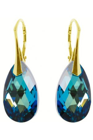 Zilver Gold Plated Oorbellen  met Swarovski Elements Bermuda Blue 22MM
